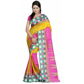Sukuma Purple & Yellow Dupion Silk Checks Saree With Blouse