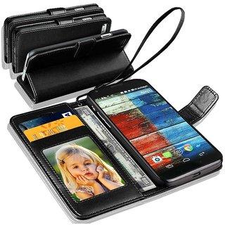 N+ INDIA  Motorola Moto G 3RD GEN  Leather Wallet Book Flip Case Cover  Black