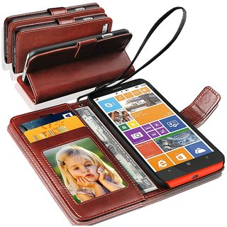N+ INDIA  Microsoft Lumia 435  Leather Wallet Book Flip Case Cover  Brown