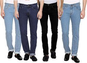 PCL Marketing Pack of 4 Men's Multicolor Slim Fit Jeans