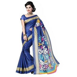 Sukuma Gold & Blue Dupion Silk Floral Saree With Blouse