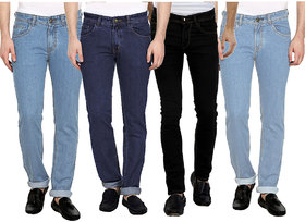 PCL Marketing Pack of 4 Men's Multicolor Slim Fit Jeans