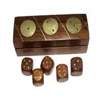 Heaven Decor Wooden Brown Dice Box With 5 Dice