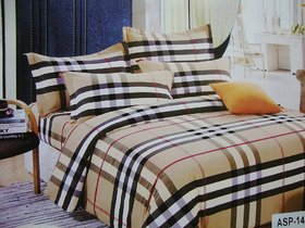Aa Aspr Smart Checked Cotton Double Bedsheet At Low Rates