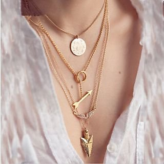4 layer arrow design necklace pendant charm gold choker chain