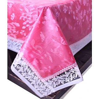 E-Retailers Pink Pvc Lace Center Table Cover (40X60 Inch)