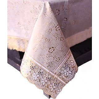 E-Retailers Classic Golden Flower Printed with Golden Lace center Table Cover
