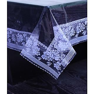 E-Retailers Transparent Pvc Lace Printed Center Table Cover (40X60 Inch)