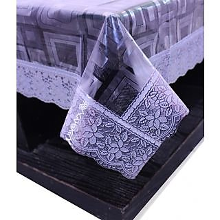 E-Retailers Stylish Square Transparent With Silver Lace Center Table Cover