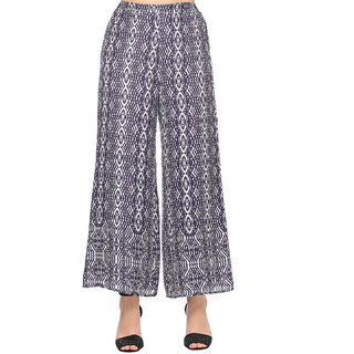 Navy Blue Metallic Net Palazzo Pants