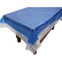 E-Retailers White,Blue Pvc Lace Center Table Cover (40X60 Inch)