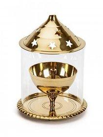 Brass Golden diamond  Akhand Diya Big