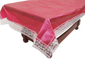 E-Retailers Red Pvc Center Table Cover (40X60 Inch) With Lace
