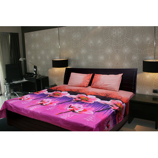 Akash Ganga Floral Double Bedsheet With 2 Pillow Cover (KMA-525)