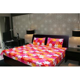 Akash Ganga Abstract Double Bedsheet With 2 Pillow Cover (KMA-534)