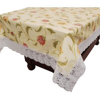 E-Retailers Beige,White Pvc Lace Center Table Cover (40X60 Inch)