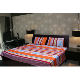 Akash Ganga Floral Double Bedsheet With 2 Pillow Cover (KMA-524)