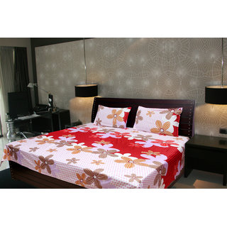 Akash Ganga Abstract Double Bedsheet With 2 Pillow Cover (KMA-529)