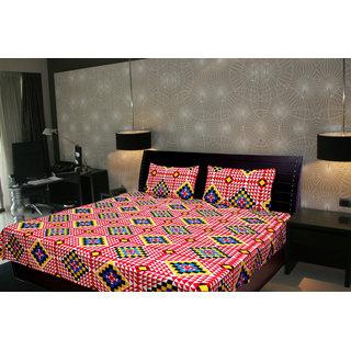 Akash Ganga Abstract Double Bedsheet With 2 Pillow Cover (KMA-532)