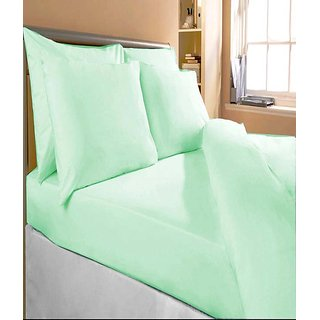 Akash Ganga Green Cotton Double Bedsheet With 2 Pillow Cover (KMA-538)
