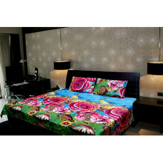 Akash Ganga Floral Double Bedsheet With 2 Pillow Cover (KMA-521)