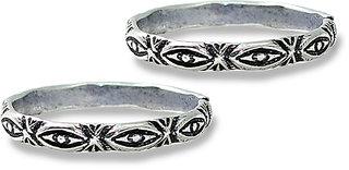 Frabjous Fusion Plain Circular German Silver Toe Ring for Women