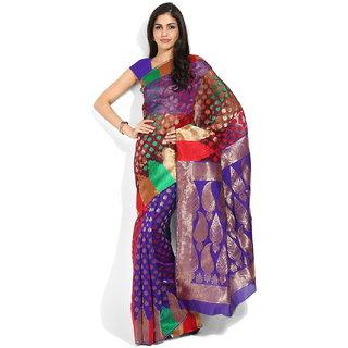 Lookslady Purple Silk Printed Saree With Blouse