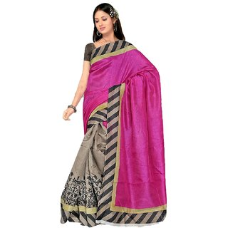 SuratTex Pink Bhagalpuri Silk Printed Saree With Blouse