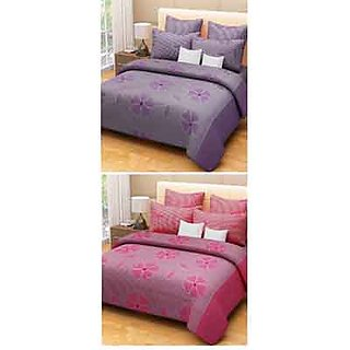 Akash Ganga Purple  Red 2 Cotton Double bedsheets with 4 Pillow Covers