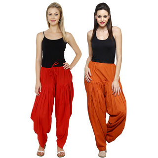 Pistaa combo of womens cotton Red and Rust full patiala salwar Pant