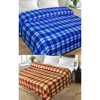 Shopgalore Combo of Checks Single and Double AC Blanket(CSDB-011)