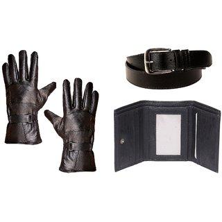 Deal Stylish Combo - Gloves, Trifold  Belt