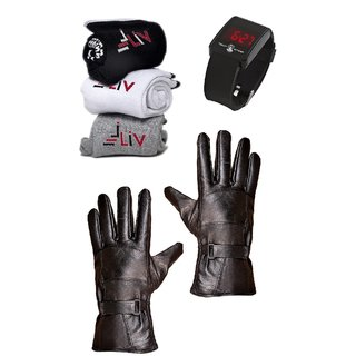 iLiv Winter Combo - Gloves, Socks  Watch