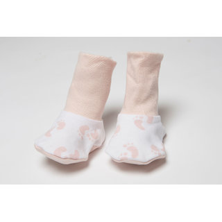 Nino Bambino Pink Organic Cotton Roll Over Bootie (0-6 Months)