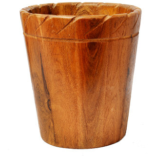 COLLECTIBLES BROWN COLOR WOODEN DUSTBIN/ WOODEN PLANTER