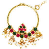 Deepika Padukone Inspired Ethnic Pink Green Drop Pearl Nath by Donna NR31005G