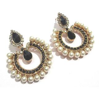 c116f0a3613 Buy Black stone tilak pearl polki earrings Online - Get 50% Off