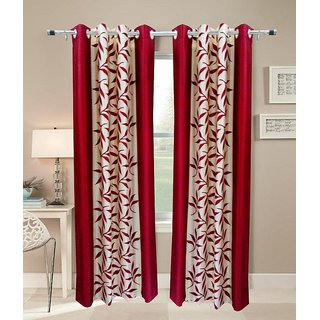Homesazz Leaves Design Window Curtain(Set of 2)
