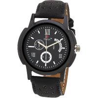Evelyn Round Dial Black Leather Strap Mens Quartz Watch