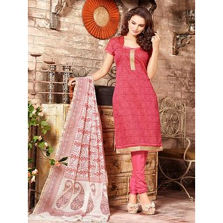 Sareemall Pink Chanderi Embroidered Salwar Suit Dress Material (Unstitched)