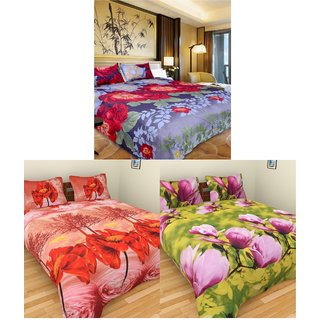 iliv Set of 3 designer 3D double bedsheets with 6 pillow covers