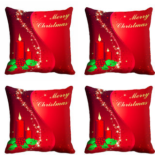 meSleep Red Merry Christmas Cushion Cover 16x16