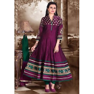Simran Creation-Purple  Green Chanderi Silk Readymade Anarkali Salwar Suits