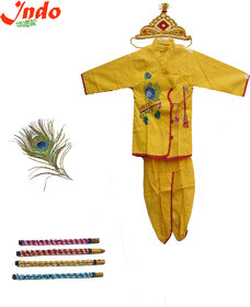 Indo Yellow Cotton Krishna Dress Set With Crown Peacock Feather  Flute