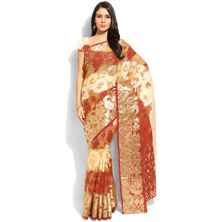 Lookslady Red Silk Printed Saree With Blouse