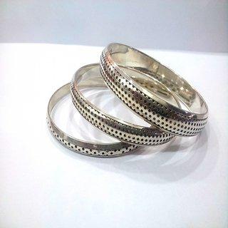 Silver Bangle Set Hand crafted Brass stylish pretty Bangle set of 3pcs ethnic