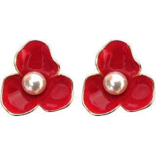 Flower Style Red Stud Earrings with Faux Pearl - 744.7