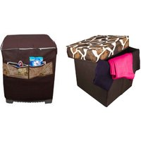 Brown Bamboo Washing Machine Cover With Foldable Laundry Bag