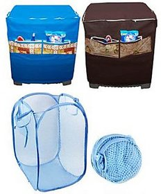 Combo Of Washing Machine Cover with Foldable Laundry Bag