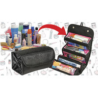 Foldable Cosmetic Travel Organizer With 4 Zipped Compartment And Magnetic Lock